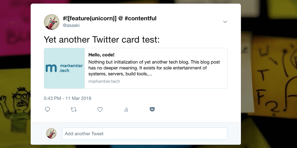 Screenshot of my first Twitter card for the previous blog post »Hello, code!« (https://twitter.com/asaaki/status/972875567132528641)