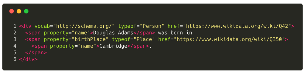 Example of Structured Data for HTML; Person and Place: 'Douglas Adams was born in Cambridge'