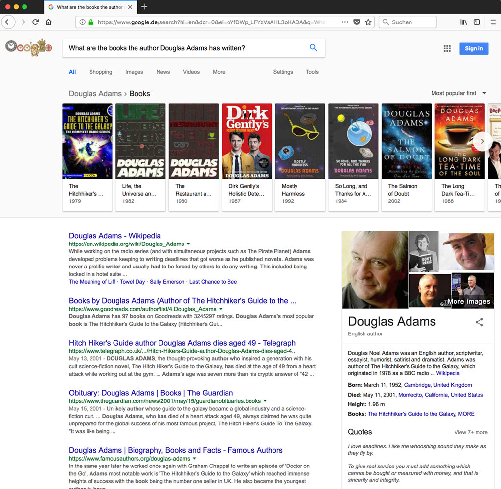 Google.com search results for 'What are the books the author Douglas Adams has written?'