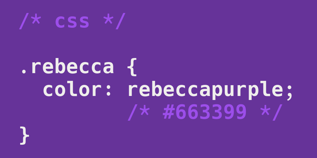 The color 'rebeccapurple' with the RGB hex code #663399.