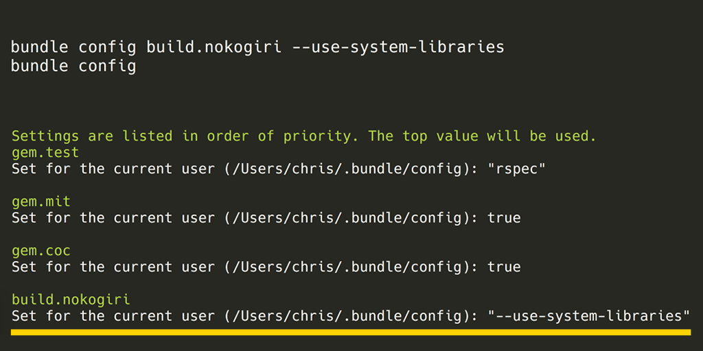 Solves almost all of your problems: bundle config build.nokogiri --use-system-libraries && bundle install