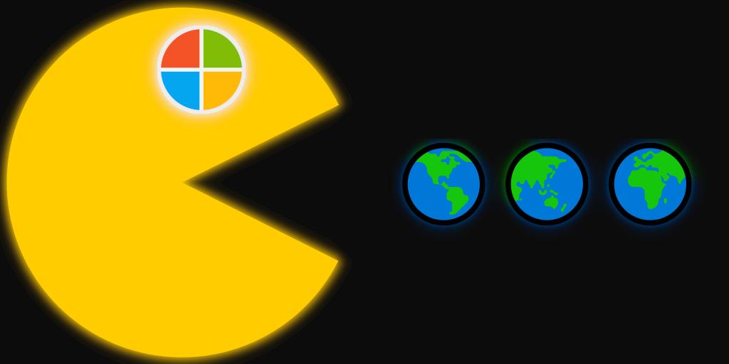 Pacman eating earth globe pills